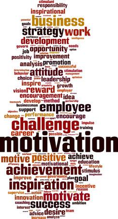 stimulation: Motivation word cloud concept.  illustration