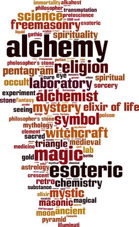 alchemist: Alchemy word cloud concept. Vector illustration