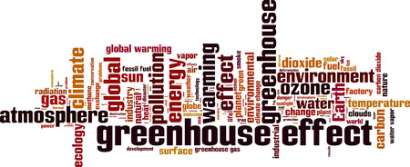 greenhouse gas: Greenhouse effect word cloud concept. illustration