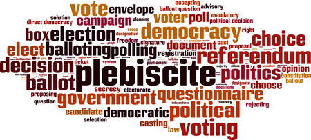 majority: Plebiscite word cloud concept. illustration