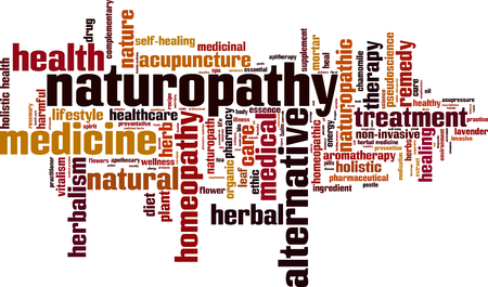 Naturopathy word cloud concept. Vector illustration