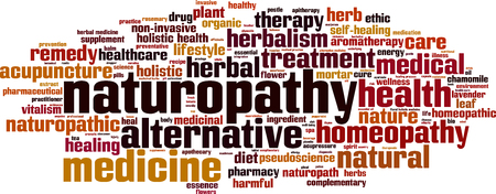 holistic health: Naturopathy word cloud concept. Vector illustration