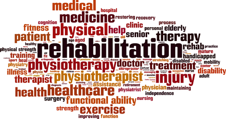 rehab: Rehabilitation mining word cloud concept. Vector illustration