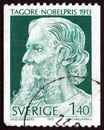 nobel: SWEDEN - CIRCA 1973: a stamp printed in Sweden shows Rabindranath Tagore, Writer and Painter, Winner of 1913 Nobel Prize, circa 1973