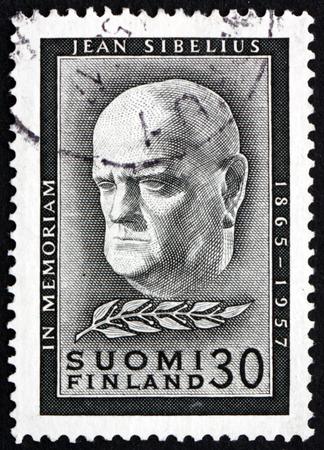 sibelius: FINLAND - CIRCA 1957: a stamp printed in Finland shows Jean Sibelius, Finnish Composer and Violinist, circa 1957
