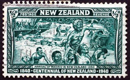 centennial: NEW ZEALAND - CIRCA 1940: a stamp printed in New Zealand shows Landing of the Maoris in 1350, Centennial of New Zealand, circa 1940