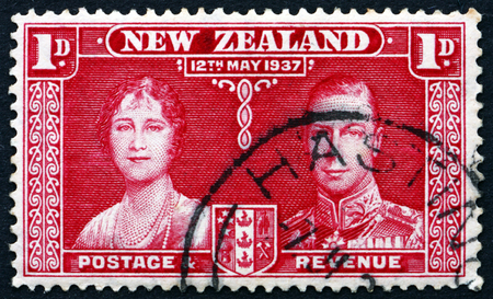 vi: NEW ZEALAND - CIRCA 1937: a stamp printed in New Zealand shows Queen Elizabeth and King George VI, Coronation of George VI and Elizabeth, circa 1937