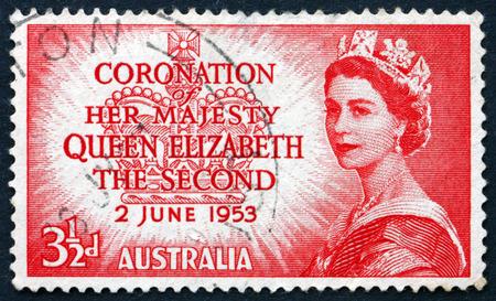 coronation: AUSTRALIA - CIRCA 1953: a stamp printed in Australia shows Queen Elizabeth The Second, Coronation, circa 1953