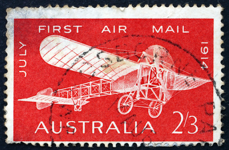 first plane: AUSTRALIA - CIRCA 1964: a stamp printed in Australia shows Bleriot 60, Plane, 1914, 50th Anniversary of the First Air Mail Flight in Australia, Maurice Gauilaux, Aviator, circa 1964