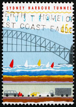 AUSTRALIA - CIRCA 1992: a stamp printed in Australia shows Sydney Harbor Bridge and Tunnel, Right Side, Opening of Sydney Harbor Tunnel, circa 1992