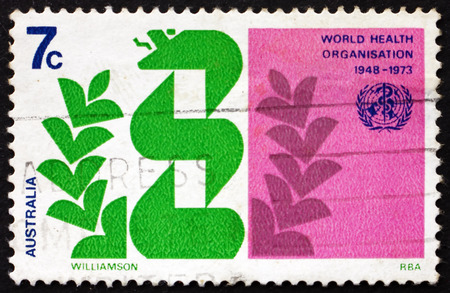 australia stamp: AUSTRALIA - CIRCA 1973: a stamp printed in Australia shows Stylized Caduceus and Laurel, WHO, 25th Anniversary, circa 1973 Editorial