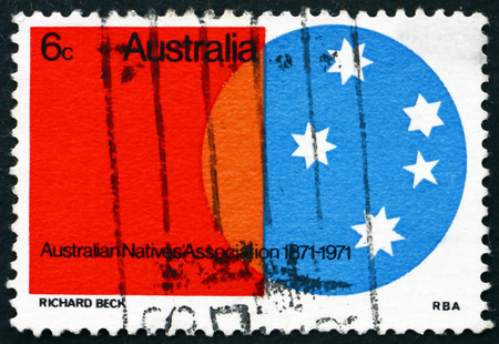 centenary: AUSTRALIA - CIRCA 1971: a stamp printed in Australia shows Southern Cross, Australian Natives Association, Centenary, circa 1971 Editorial