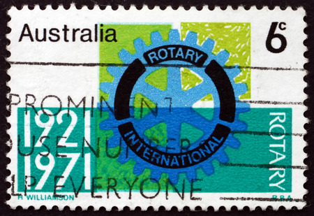 AUSTRALIA - CIRCA 1971: a stamp printed in Australia shows Rotary Emblem, First International Rotary Convention Held in Australia, Sydney, circa 1971