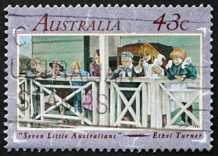 turner: AUSTRALIA - CIRCA 1991: a stamp printed in Australia shows Seven Little Australians, is a Classic Australian Childrens Novel by Ethel Turner, circa 1991