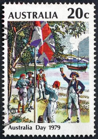 australia day: AUSTRALIA - CIRCA 1979: a stamp printed in Australia shows Flag Raising at Sydney Cove, Australia Day, circa 1979