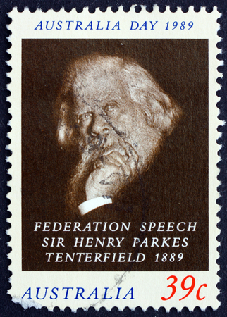 AUSTRALIA - CIRCA 1989: a stamp printed in Australia shows Sir Henry Parkes, Advocate of Federation of the Six Colonies, circa 1989 報道画像