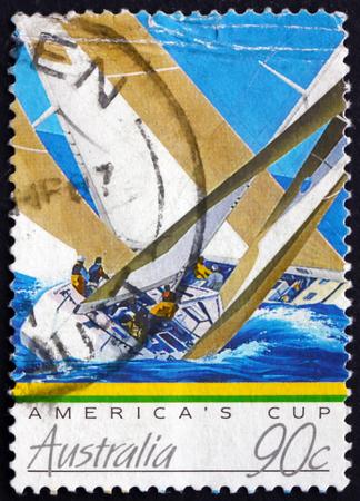 america's cup america: AUSTRALIA - CIRCA 1987: a stamp printed in Australia shows Yachts, Americas Cup, circa 1987