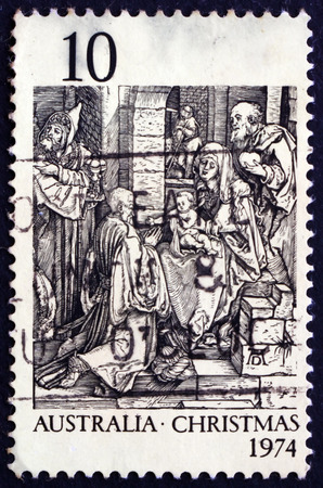 albrecht: AUSTRALIA - CIRCA 1974: a stamp printed in Australia shows Adoration of the Kings, by Albrecht Durer, Christmas, circa 1974