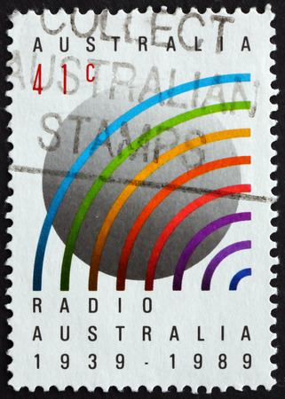 AUSTRALIA - CIRCA 1989: a stamp printed in Australia dedicated to Radio Australia, 50th Anniversary, circa 1989