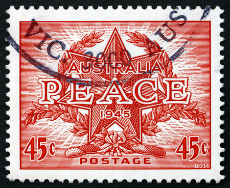 end of the world: AUSTRALIA - CIRCA 1995: a stamp printed in Australia dedicated to Peace, End of World War II, 50th Anniversary, circa 1995