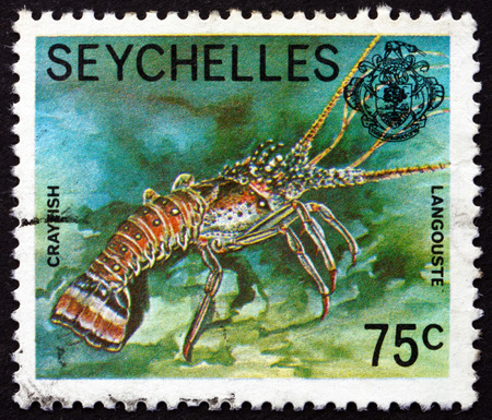 SEYCHELLES - CIRCA 1978: a stamp printed in Seychelles shows Crayfish, Astacoidea, Freshwater Crustacean, circa 1978 Editorial