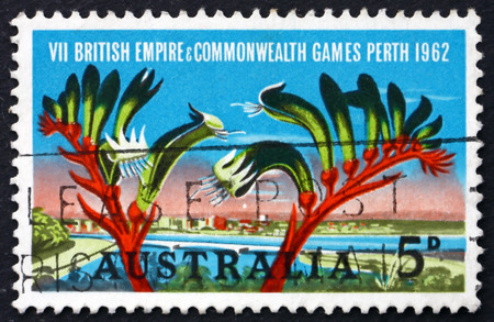 perth: AUSTRALIA - CIRCA 1994: a stamp printed in Australia shows View of Perth and Kangaroo Paw, British Empire and Commonwealth Games, Perth, circa 1994