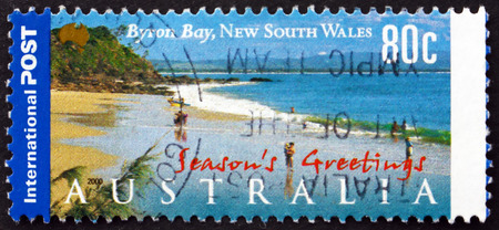 byron: AUSTRALIA - CIRCA 2000: a stamp printed in Australia shows Byron Bay, New South Wales, Touristic Attraction, circa 2000 Editorial