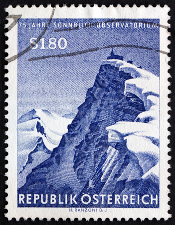 commemorate: AUSTRIA - CIRCA 1961: a stamp printed in Austria shows Sonnblick Mountain and Observatory, Sonnblick Meteorological Observatory, 75th Anniversary, circa 1961