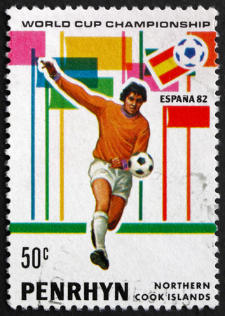 PENRHYN - CIRCA 1981: a stamp printed in Penrhyn shows Player in Action, 1982 World Cup Soccer, circa 1981 Editorial