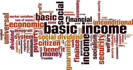 Basisinkomen word cloud concept. vector illustratie Stock Illustratie