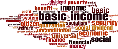 capitalist: Basic income word cloud concept. Vector illustration