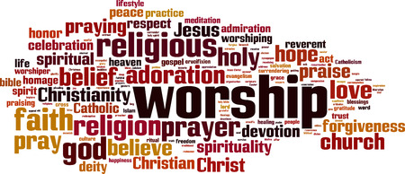 Worship word cloud concept. Vector illustration Vettoriali