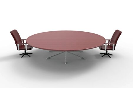 two chairs: Conference table with two chairs on white background, 3D rendering