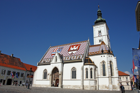 st  mark's square: CROATIA ZAGREB, 25 SEPTEMBER 2016: Church of St. Mark is parish church of old Zagreb located in St. Marks Square