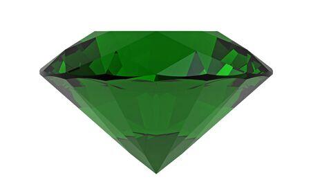 Green diamond emerald gemstone isolated on white, 3D rendering Stock Photo