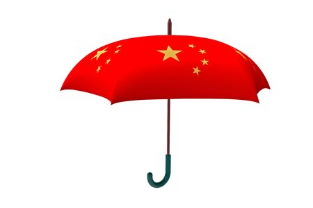 brolly: Red Chinese umbrella, 3d rendering, on white background