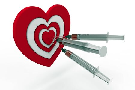 Heart shaped target and syringe, 3D rendering, on the white background