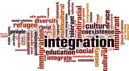 cohesion: Integration word cloud concept. Vector illustration