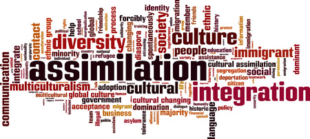 Assimilation word cloud concept. Vector illustration