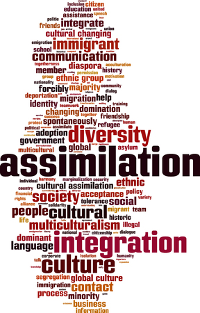 assimilate: Assimilation word cloud concept. Vector illustration