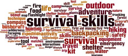 Survival skills word cloud concept. Vector illustration Vectores