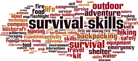 Survival skills word cloud concept. Vector illustration Иллюстрация