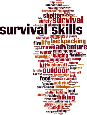 Survival skills word cloud concept. Vector illustration