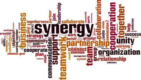 Synergy word cloud concept. Vector illustration