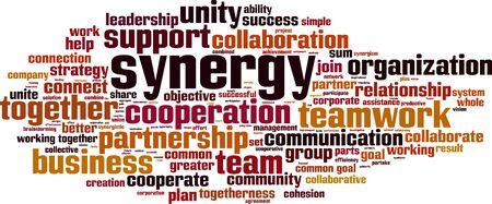 Synergy word cloud concept. Vector illustration Vector Illustration