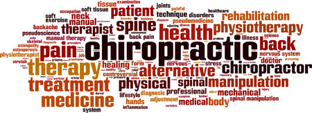 Chiropractic word cloud concept. Vector illustration Vectores