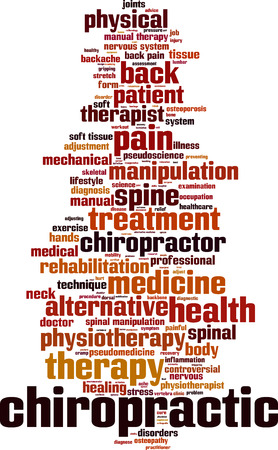 pseudoscience: Chiropractic word cloud concept. Vector illustration Illustration