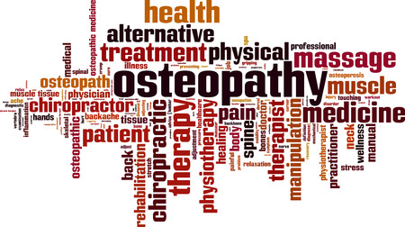 Osteopathy word cloud concept. Vector illustration
