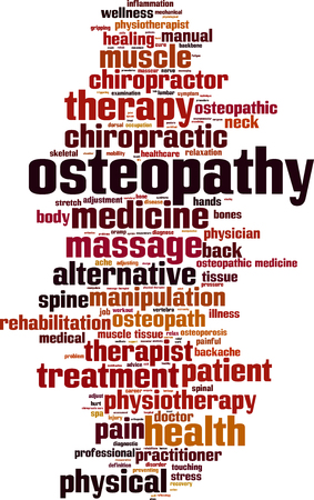mechanical back: Osteopathy word cloud concept. Vector illustration