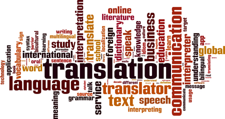 Translation word cloud concept. Vector illustration
